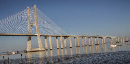 Vasco da Gama bridge during a sunny day in lisbon Stock Photo