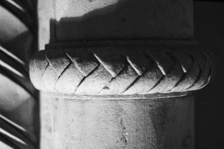 Details of ancient architectural construction in black and white