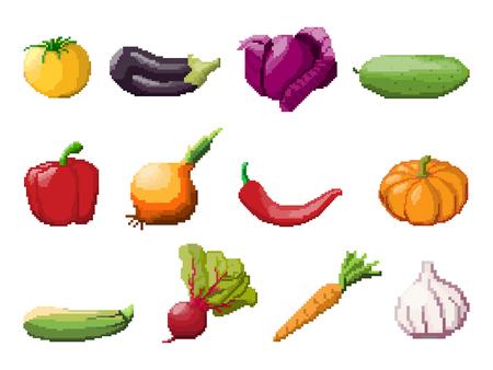 Pixel art vegetables on white background. 8 bit icon set