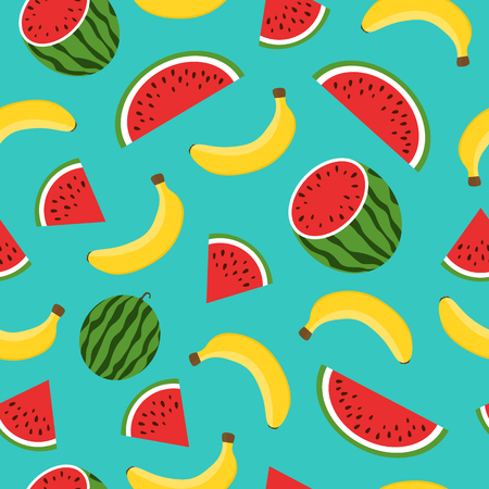 Seamless pattern with yellow bananas, watermelon on blue background. Summer fruit illustration. Colorful cute tropical background.