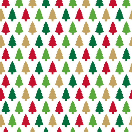 Christmas seamless pattern with colorful christmas trees on white background. Winter Holidays design. Template for the print,textile, packaging and decoration, wallpaper. Illustration