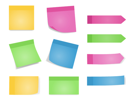 Sticky notes. Set of color sheets of note papers. Vector illustration of paper lists with different color and shadow. White background.