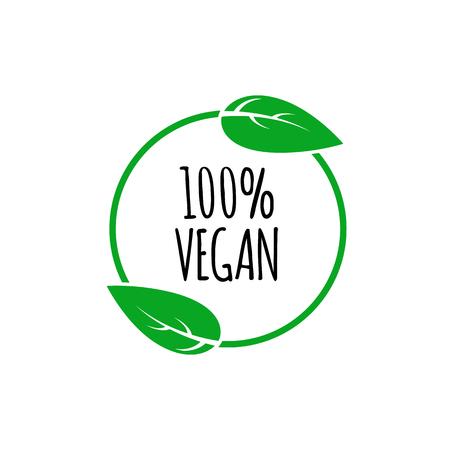 Round vegan, eco, bio green icon with leaf.