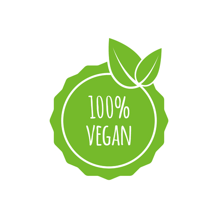 Round vegan, eco, and bio green icon with leaf. Illustration