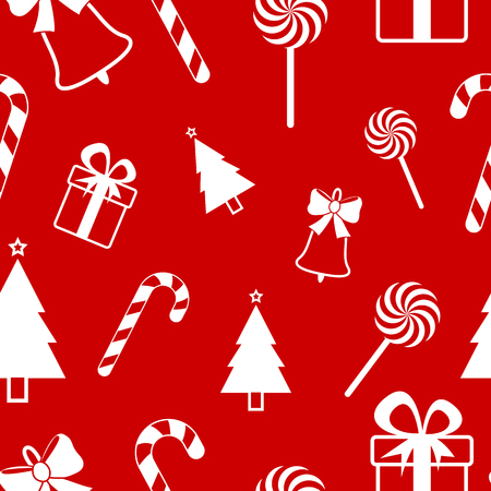 Christmas pattern on red illustration.
