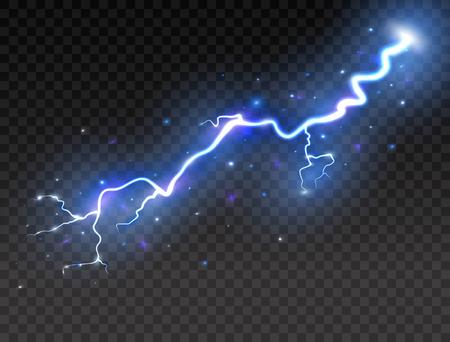 透明な背景に稲妻。現実的な雷雨。ベクトルイラスト