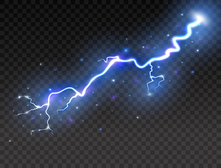 Lightning on transparent background. Realistic thunder storm. Vector illustration