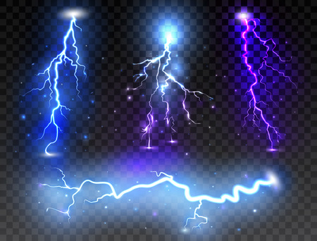 Set of realistic lightnings on transparent background. Thunder-storm and thunderbolt for design. Vector illustration.