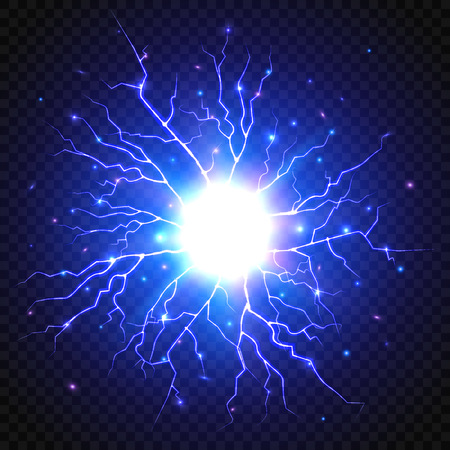 Lightning flash on transparent background. Thunder storm Vector illustration