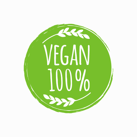 Vegan round logo. Bio, eco food design Vector illustration. Stock Illustratie