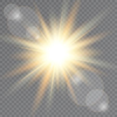 Sunlight on transparent background. Lens flare. Vector illustration