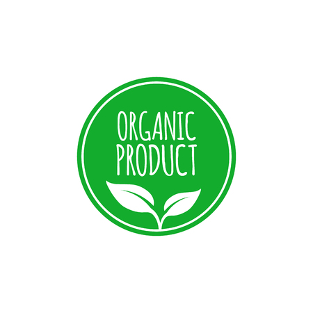 Organic food label and high quality product badge with leaves. Emblem for cafe, packaging etc. Vector illustration Vettoriali