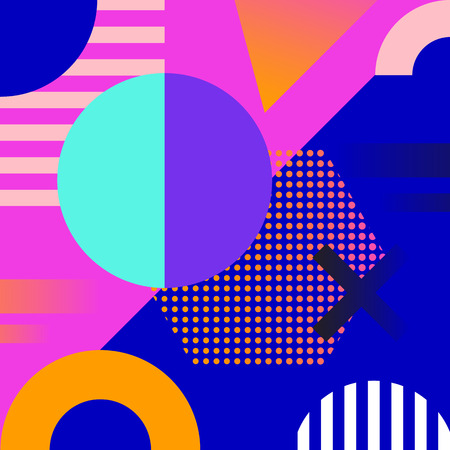 Geometric background. Memphis design. Cool cover design. Abstract shapes compositions Vector illustration.
