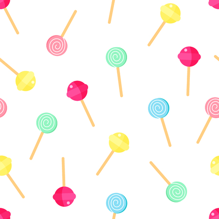 Lollipop pattern. Sweet candy background. Cartoon lollipop texture Vector illustration.