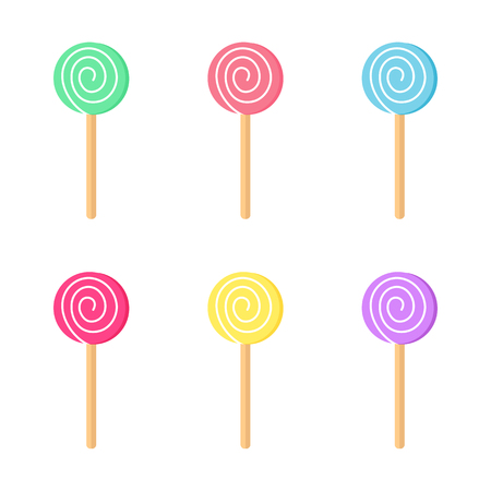 Lollipops color set. Candy on stick with twisted design vector illustration.