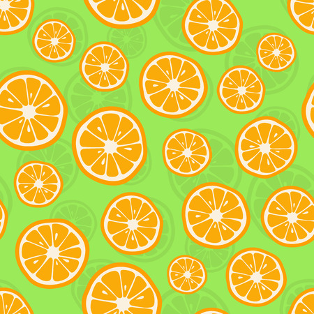 Oranges seamless pattern. Citrus background with slices of oranges. Vector illustration Stock Photo