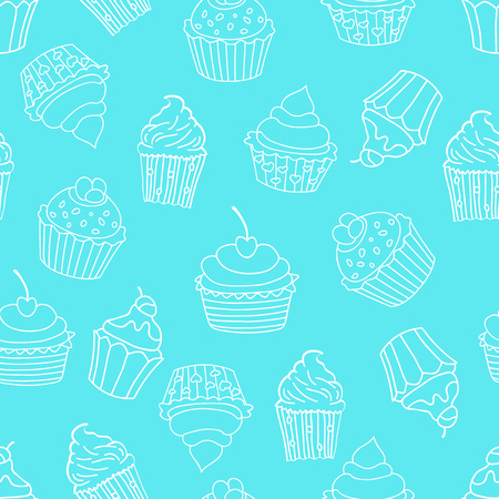 Seamless pattern with cupcakes on blue background. Sweet pattern. Vector illustration.