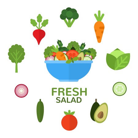 Fresh salad in bowl for vegetarian menu and healthy food advertising. Salad bar. Salad ingredients. Applicable food concept in flat style. Vector illustration.