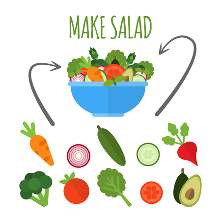 Salad with fresh vegetables in blue bowl isolated on white background. Make salad concept. Applicable set of vegetables. Vegan menu. Vector illustration