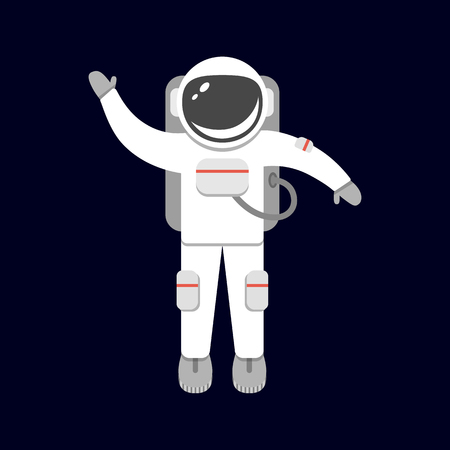 Spaceman isolated on black background. Astronaut in outer space. Space suit. Vector illustration in flat style.