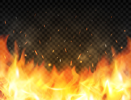 Realistic flames on transparent background. Fire background with flames, red fire sparks flying up, glowing particles and smoke. Burning flames. Bonfire, campfire or fireplace concept. Vector illustration.