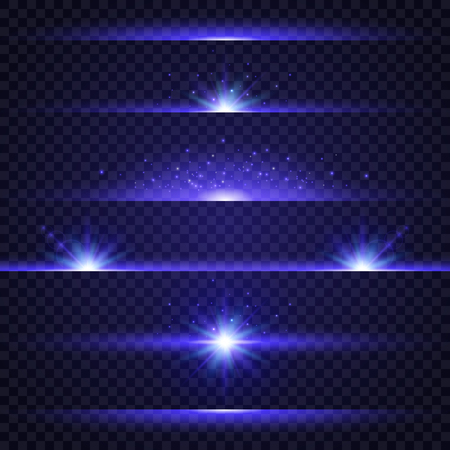 Lens flare set. Collection of blue light effects on transparent background. Glowing lights, stars and sparkles. Star burst. Flash with rays and spotlight. Vector illustration.