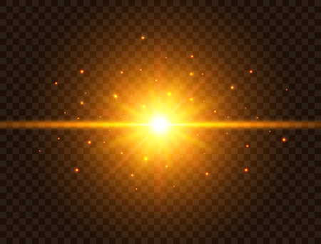 Futuristic light on transparent background. Gold star burst with beams and sparkles. Sun flash with rays and spotlight. Glowing effect. Colorful lens flare. Explosion star. Vector illustration.