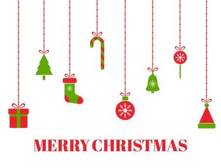 Merry Christmas greeting card with hanging christmas toys, tree, gift boxes, snowflakes, xmas balls, santa hat, bell, ribbon, candies. Red and green holiday design elements. Vector illustration. Vektoros illusztráció