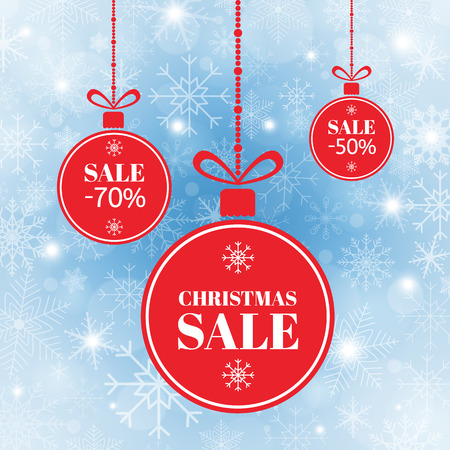 Merry Christmas and New Year balls sale. Red xmas balls with sign sale, special offer. Holiday sale banner on blue background with snow and snowflakes. Vector illustration
