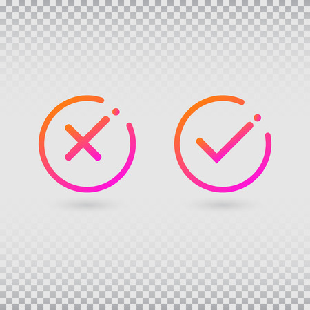 Check marks set in modern gradient colors. Bright tick and cross in circle shapes. Concept of checklist, reject or accept symbol. Vector illustration
