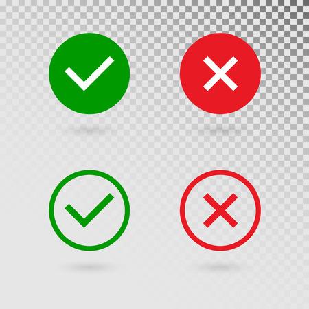 Sprawdź znaczniki ustawione na przezroczystym tle. Zielony kleszcz i czerwony krzyż w kształcie koła. TAK lub NIE akceptuj i odrzucaj symbol. Wektorowe ikony przycisków internetowych lub strony internetowej. Ilustracja wektorowa Ilustracje wektorowe