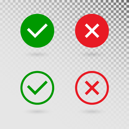 Check marks set on transparent background. Green tick and red cross in circle shapes. YES or NO accept and decline symbol. Vector icons for internet buttons or web page. Vector illustration