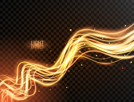 Magic light. Gold wavy dynamic lines with sparkles on transparent background. Futuristic waves in speed motion. Glowing swirl trail. Light painting effect. Vector illustration Stock Photo