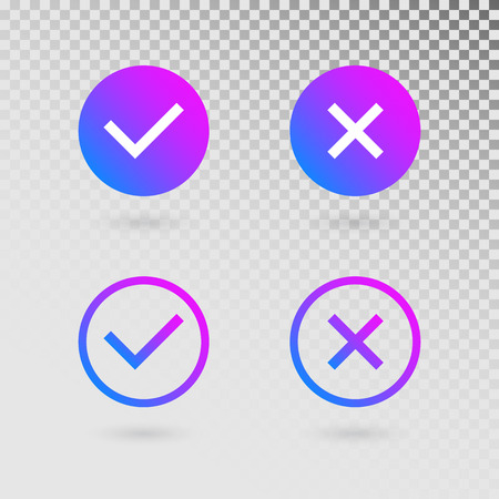 Check marks set in modern gradient colors. Bright tick and cross in circle shapes. Concept of checklist, reject or accept symbol. Vector illustration.