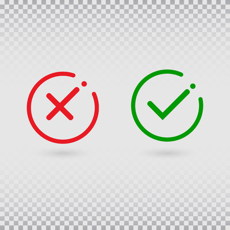 Cancel decline. Check marks set on transparent background. YES or NO accept and decline symbol. Green tick and red cross in circle shapes. Vector icons for internet buttons or web page. Vector illustration.