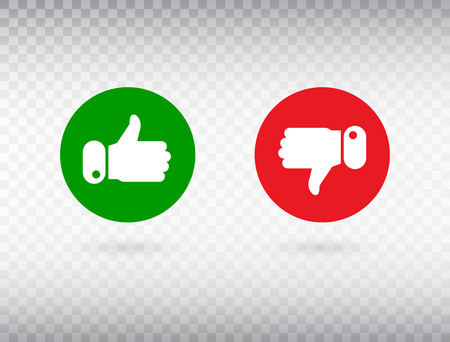 Thumbs up and thumbs down symbol isolated on transparent background. Feedback concept. Like icon. Social network symbol. Counter notification logo. Social media. Emoji reactions. Vector illustration.