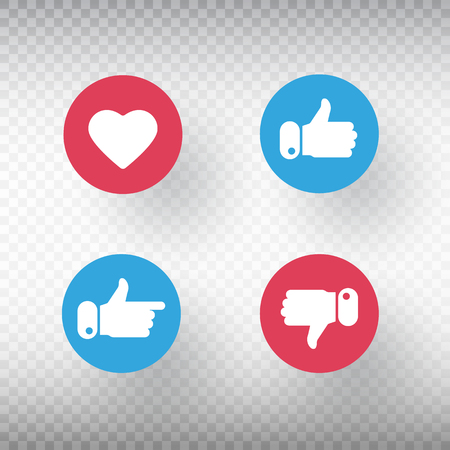 Thumbs up and thumbs down, heart signs set. Like symbol. Social media element. Bright buttons with user feedback for social network, mobile app or web site design. Vector iilustration.