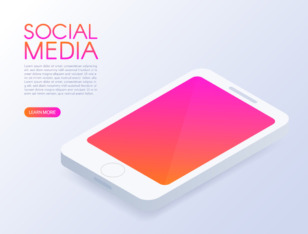 Isometric phone. Mock up mobile phone. Social media design. Screen with modern gradient. Smart and simple web interface. Application development. 3d isometric design. Vector illustration.