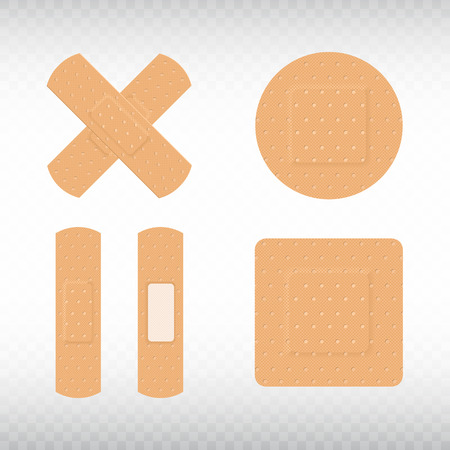 Medical adhesive plasters set on transparent background. First aid concept. Health care. Realistic medical tape,plaster, bandage, protection and care. Vector illustration Stock Illustratie