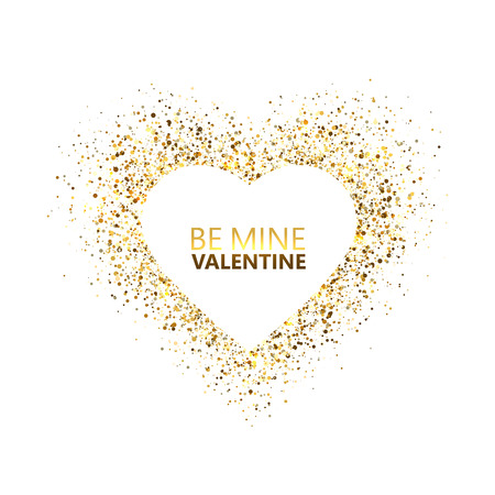 Heart glitter frame with space for text. Golden star dust and sparkles isolated on white background. Be my Valentine card concept. Valentines day glitter heart. Festive design. Vector illustration