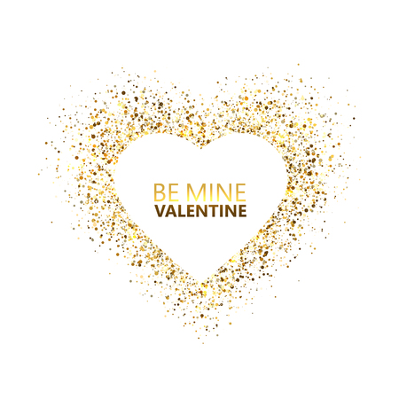 Heart glitter frame with space for text. Golden star dust and sparkles isolated on white background. Be my Valentine card concept. Valentines day glitter heart. Festive design. Vector illustration.