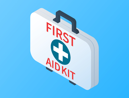 Isometric first aid kit isolated on blue background. Medical examination. Health care design in flat style. First aid kit box with medical equipment for emergency. Vector illustration.