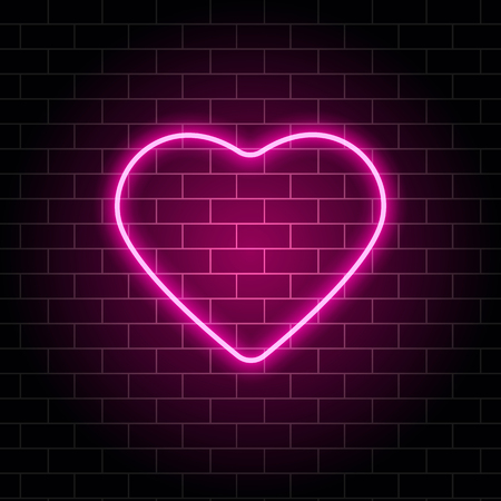 Neon heart. Bright night neon signboard on brick wall background with backlight. Retro pink neon heart sign. Design element for Happy Valentines Day. Night light advertising. Vector illustration. Illustration