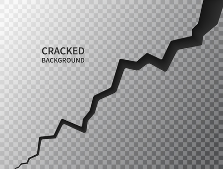 Cracked ground surface. Realistic crack texture on transparent background. Earth crack. Rift on surface. Split terrain after earthquake. Crack on the wall or on the ice. Vector illustration. Illustration