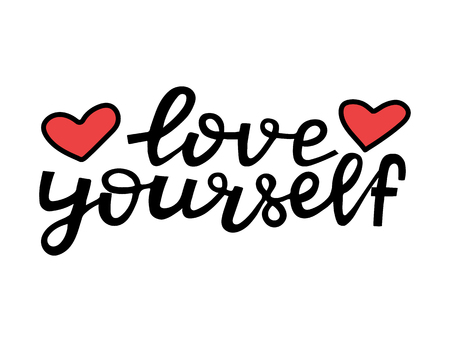 Love yourself - motivational quote. Modern brush pen lettering. Love yourself handwritten black text with hearts. Hand made printable design, trendy phrase for t-shirts, cards. Vector illustration.