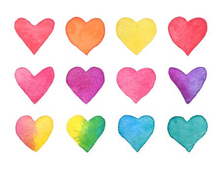 Insieme del cuore dell'acquerello disegnato a mano. Accumulazione dei cuori dell'arcobaleno isolata su fondo bianco. Elemento di design romantico per invito a nozze, carta di San Valentino. Illustrazione vettoriale.