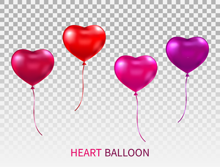Realistic heart shaped balloons set isolated on transparent background. Red, pink and purple glossy balloon with ribbons. Flying bunch of heart balloons. Happy Valentines Day. Vector illustration.