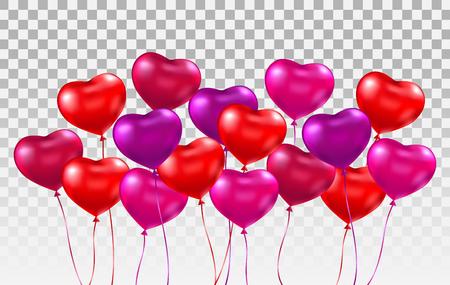 Conjunto de globos de corazón realista 3d. Montón de globos de corazón rojo, rosa, púrpura brillante sobre fondo transparente. Telón de fondo de vacaciones con globos voladores. Diseño del Día Internacional de la Mujer. Ilustración vectorial. Ilustración de vector