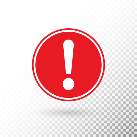 Exclamation mark in red circle isolated on transparent background. Warning symbol. Attention button. Exclamation mark icon in flat style. Red circle warning sign. Vector illustration.