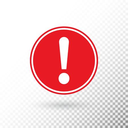Signo de exclamación en círculo rojo aislado sobre fondo transparente. Símbolo de advertencia. Botón de atención. Icono de signo de exclamación en estilo plano. Señal de advertencia de círculo rojo. Ilustración vectorial. Ilustración de vector